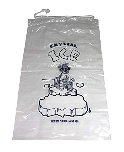 (Plastic Ice Bags With Draw String Closure - Pack of 100)