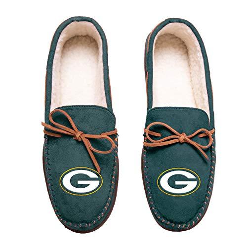 FOCO Football Mens Team Color Big Logo Moccasin Slippers Shoe - Pick Team (Medium 9-10, Green Bay Packers)