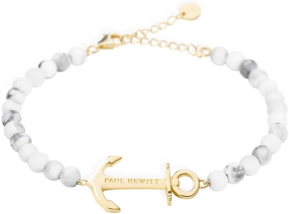 Paul Hewitt Anchor Spirit Brazalete de Perlas (Color mármol) - Pulsera de Mujer de Acero Inoxidable con Ancla Dorada, Pulsera para señoras