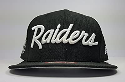 New Era Los Angeles Raiders 9Fifty Black and White Vintage Script N.W.A Adjustable Snapback Hat NFL from New Era