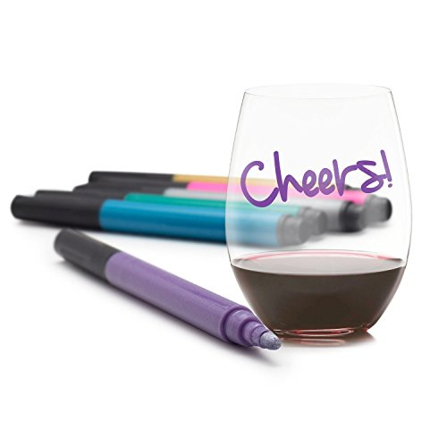 VinoVivo Wine Glass Markers That Write On Glass, Wine Pens (6 Pack) by VinoVivo
