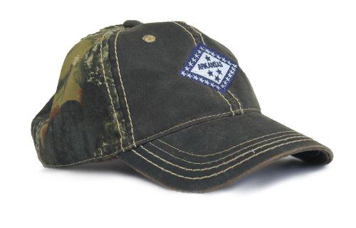 Arkansas Razorback State Flag Camouflage Hat / Camo Hunting Cap