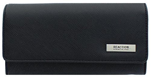 Kenneth Cole Reaction Womens Saffiano Clutch Wallet Trifold W Coin Purse (BENTON BLACK)