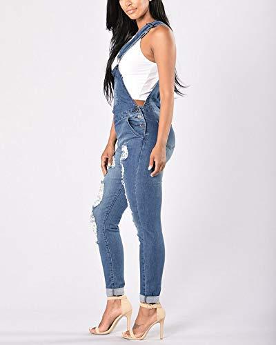 Combinaison Jeans Dchir Fit Stretch Femme Marine Yonglan Pantalons Jumpsuit Slim Denim Salopette tw1z1qF