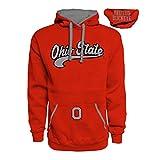 J America NCAA Ohio State Buckeyes Mens Premium Hoodie Pullover Sweatshirt-Red-Medium