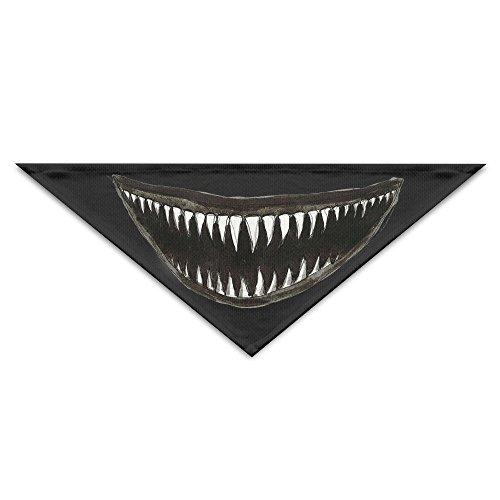 OHMYCOLOR Scary Teeth Jaw Of Shark Dog Bandanas Scarves Triangle Bibs Scarfs Fashion Basic Dogs Neckerchief Cat Collars Pet Costume Accessory Kerchief Holiday Birthday Gift