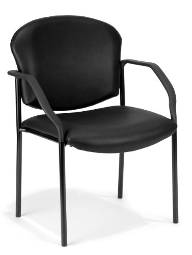 (OFM Manor Series Guest and Reception Chair with Arms, Anti-Microbial/Anti-Bacterial Vinyl, in Black (404-VAM-606))