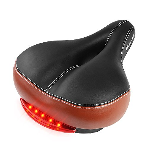Chaunts Bike Seat Cushion with Led Tail Light, Breathable and Anti-shock Suspension Ball Design of Bicycle Saddle for Road Cycling and All-terrain ()