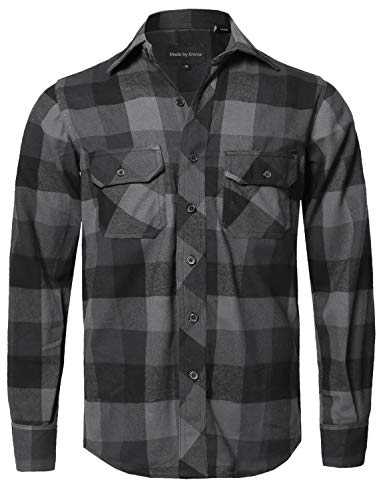 Casual Plaid Flannel Woven Long Sleeve Button Down Shirt Black Grey M