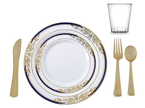 Plastic China Plate Silverware Combo Serving for 20 (135 piece set) Signature Blue
