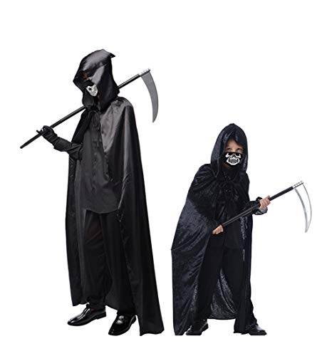 Beautifulfashionlife Men Grim Reaper Costume Halloween Hooded Cape Cloak Full Length Black XL