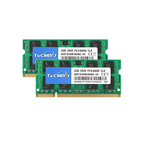 TECMIYO 4GB Kit (2x2GB) DDR2 800MHz PC2-6400 PC2-6400S Non ECC Unbuffered 1.8V CL6 2RX8 Dual Rank 200 Pin SODIMM Laptop Notebook Computer Memory Ram Module