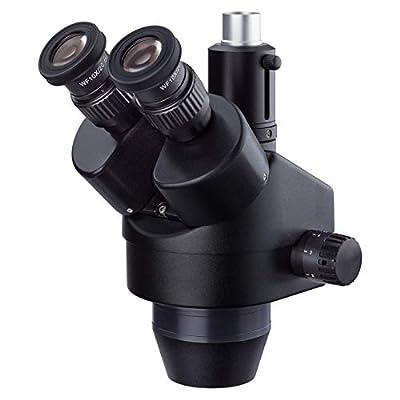AmScope 7X-45X Black Trinocular Zoom Stereo Microscope Simul-Focal Head