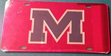 Ole Miss Rebels Red With Blue M Mirrored License