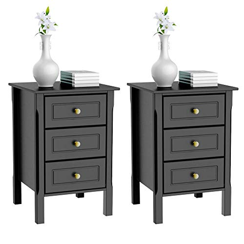 - Yaheetech 3 Drawers Nightstand Tall End Table Storage Wood Cabinet Bedroom Side Storage, Set of 2, Black