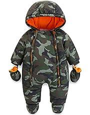 JiAmy Baby vinter huvtröja sparkdräkt med handskar tossor overall kläder för 3-24 månader