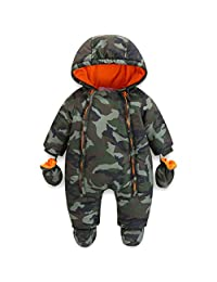 JiAmy Baby Winter Hooded Romper Snowsuit with Gloves Booties Outfits 3-24 Months