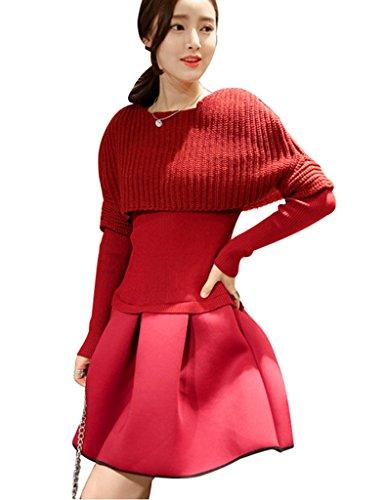 Umhang Gestrickt Elegant 2 Winter Damen Herbst Pullover mit Weinrot wunderschön BININBOX Strickkleid Langarm Poncho Cocktailkeid vgFxwq
