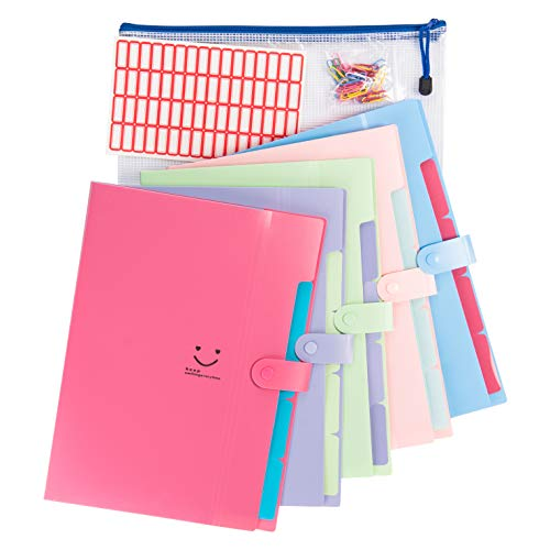 5 Pockets Expanding File Folders | Accordion Document & Paperwork Organizer, School & Office Supplies | A4 Letter Size, Button Closure |Storage Solution for Business, Home, Classroom |Pack of 5 Colors