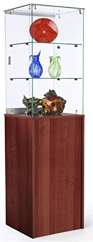 Tempered Glass Display Pedestal Has 2 Shelves and Cherry Melamine Storage Cabinet, 20 x 72 x 18-Inch, Frameless Design, Sliding Locking Doors