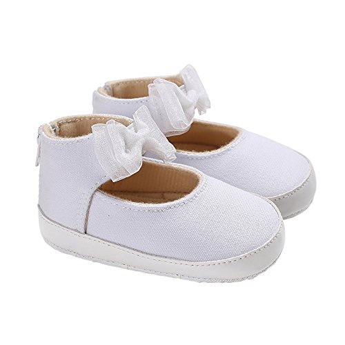 Baby Girls High Top Lace Bowknot Canvas Mary Jane Soft Sole House Light up Shoes White Size L (High Jane Top Mary)