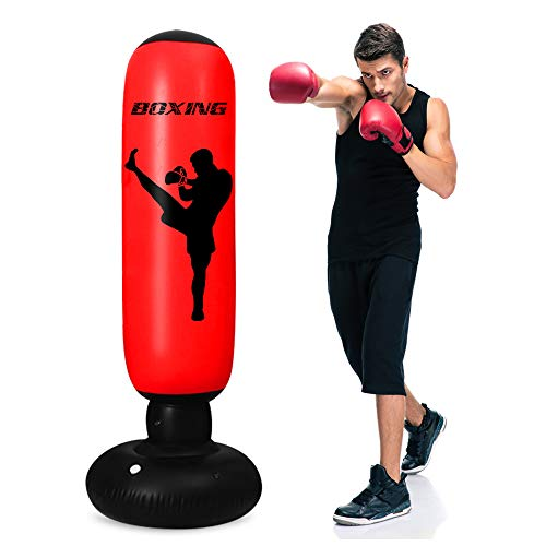 TUOWEI Kids Punching Bag, Inflatable Punching Bag for Kids 63Inch Freestanding Punching Bag with Stand for Adults/Kids…