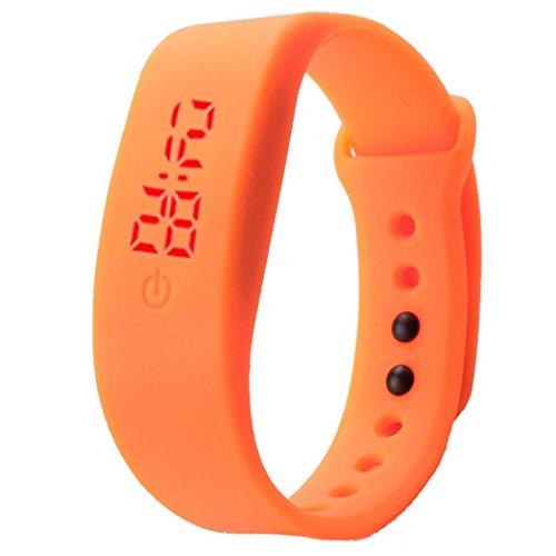 Price comparison product image Siviki 2018 Hot sale Simple Gel Rubber Bracelet LED Digital Display Unisex Sports Watch (Orange)