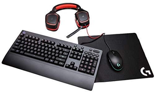 Logitech G Gear UP Gaming Bundle Gaming Grade Mouse, Keyboard, Stereo Headset Mouse Pad, Black