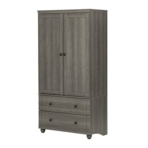 South Shore Hopedale Storage Armoire With 2 Drawers, Gray (Computer Armoire Cabinet)