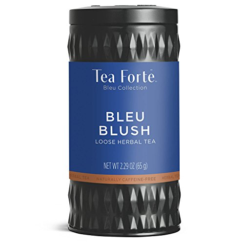 Blush Coffee (Tea Forté BLEU BLUSH Butterfly Pea Blue Herbal Tea with Organic Chamomile, Lemon and Rose Petal, Loose Leaf Tea Tin, 2.29 oz Canister)