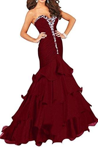 SDRESS Women's Rhinestones Sweetheart Mermaid Ruffles Sweep Train Prom Evening Dress Burgundy Size 10