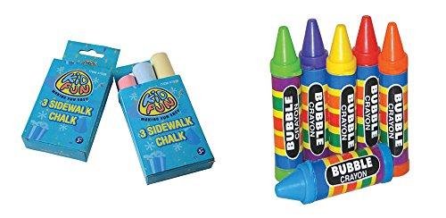 Sidewalk Chalk Crayon Bubbles Toy Party Favor Supplies 36 Piece Set Bundle