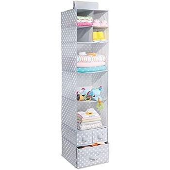mdesign nursery fabric hanging closet storage organizer with shelves and drawers u2013 graywhite