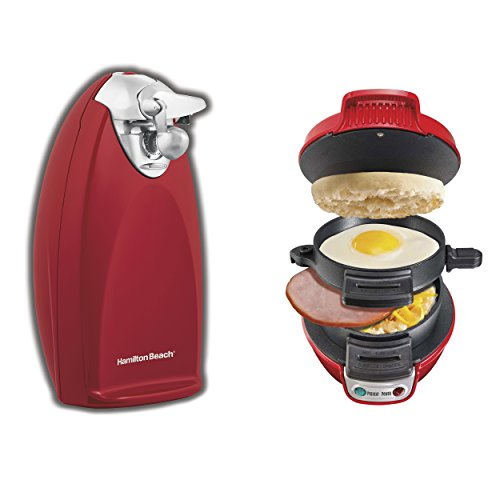 Hamilton Beach Heavyweight Electric Can Opener + Breakfast Sandwich Maker (Hamilton Beach Can Opener Red compare prices)
