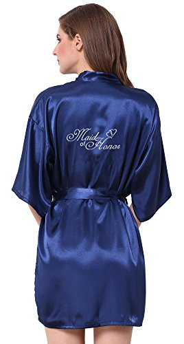 JOYTTON Women's Satin Kimono Robe With Embroidered Maid Of Honor Dark Blue XL