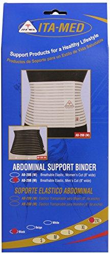 ITA-MED Men's Breathable Abdominal/Back Support Binder AB-208: Black XX-Large