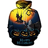 MALLOOM Happy Halloween-Hoodies Unisex Adult Couples Pumpkin Castle 3D Print Long Sleeve Pullover