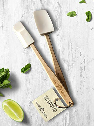 Heirloom Living Ultra-Pure Silicone Spatula Set - Mini Set - Made in the USA (White)