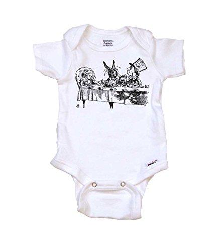Alice in Wonderland Teaparty Baby Onesie Organic, 0-3 mo, Organic White -