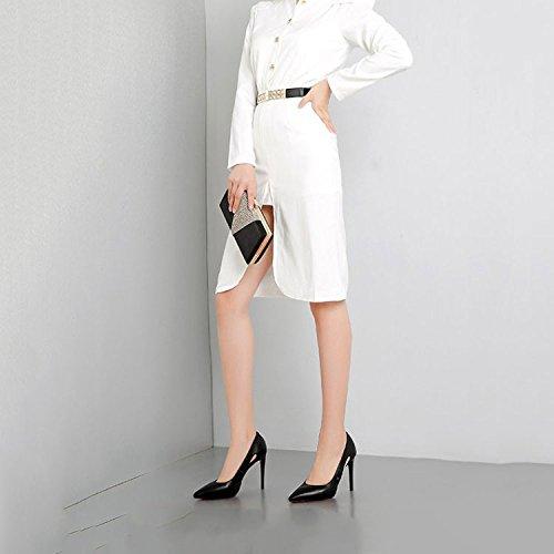 Professionnelles pour Chaussures Cuir Simples Chaussures Talons Hauts Black Talons Mode Véritable Femmes DKFJKI Aiguilles gq17R1