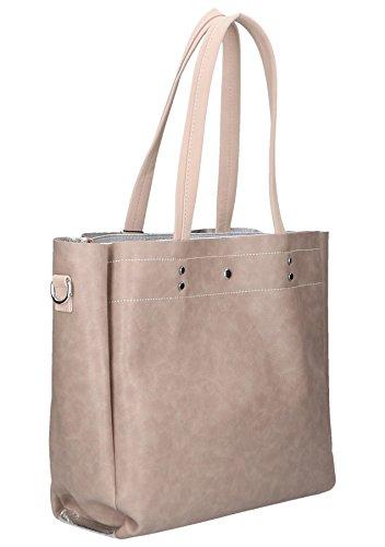 Chiara Design K721 GRANITA - Bolso cruzados de Otro cuero para mujer, color Beige, talla Medium Beige-silber