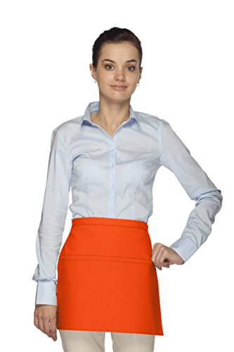 Reversible Waist Apron (Averill's Sharper Uniforms Men's Two Pocket Squared Waist Apron with Reversible Option 2 pocket Orange)