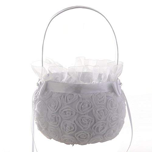 (HotGlows 5.9 Inch White Embroidered Petal Wedding Flower Girl Basket With Satin Rose Bowknot Ceremony Party)