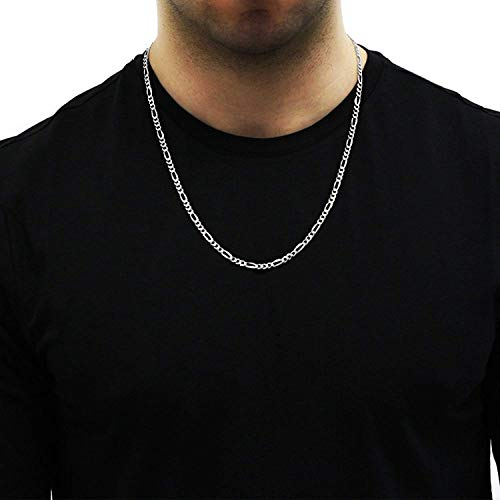 """Authentic Solid Sterling Silver Figaro Link .925 ITProLux Necklace Chains 3MM 4MM 5MM 6MM 7MM 7.5MM 8.5MM 10.5MM, 16"""" - 30"""", Made In Italy, Men & Women, Next Level Jewelry"""
