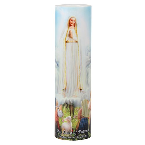 The Saints Gift Collection Our Lady of Fatima LED Devotional Candle with 6 Hour Timer (Novena Prayer To Our Lady Of Fatima)