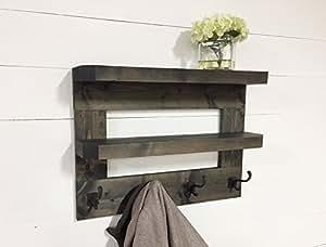Rústico de madera estantería de salón y perchero de 23