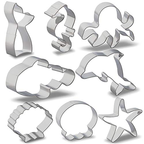 Sea Cookie Cutter Set with Storage Jar and Brush, GOH DODD 8 Pieces Stainless Steel Ocean Fondant Molds for Party - Starfish, Seahorse, Octopus, Seashell, Dolphin, Clown Fish, Mermaid Tail, Jellyfish -