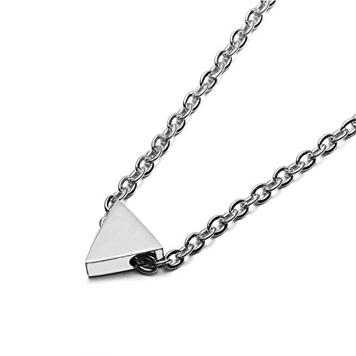 SEVEN50 Simple Floating 0.5'' Triangle Pendant Necklace Silver Cube Charm 23'' length Necklace by with gift box (Logo 1/2' Jewelry Pendant)