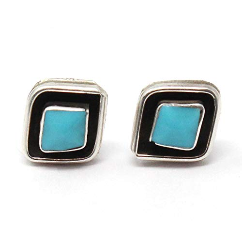 Zuni Sterling Silver Diamond Shaped Block Turquoise Post Earrings by Qualo | 3/8