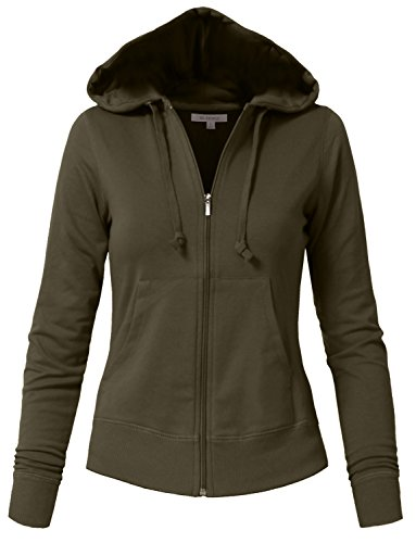 NE PEOPLE Womens Basic Zip Up Hoodie Jacket with Pockets -